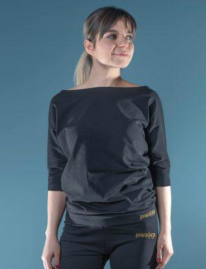 Top Damen Fledermaus Ärmel Shirt Schwarz