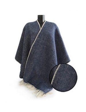 Woll-Poncho dunkelblau